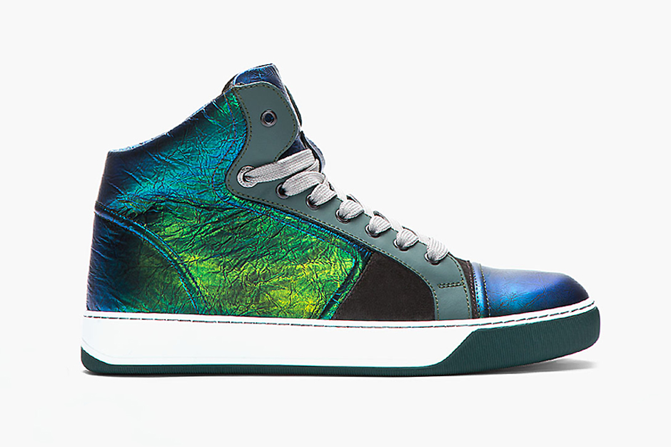 Lanvin Green and Blue Iridescent Leather Sneaker