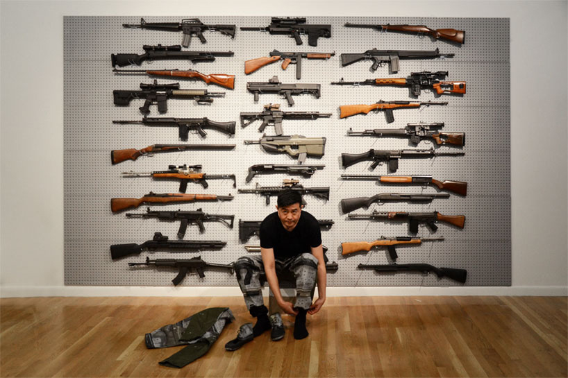 Liu Bolin's Gun Rack Performance @ Eli Klein Fine Art Gallery New York