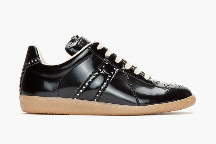 Maison Martin Margiela 2013 Fall/Winter Black Patent Reflective Mock-Brogue Sneaker
