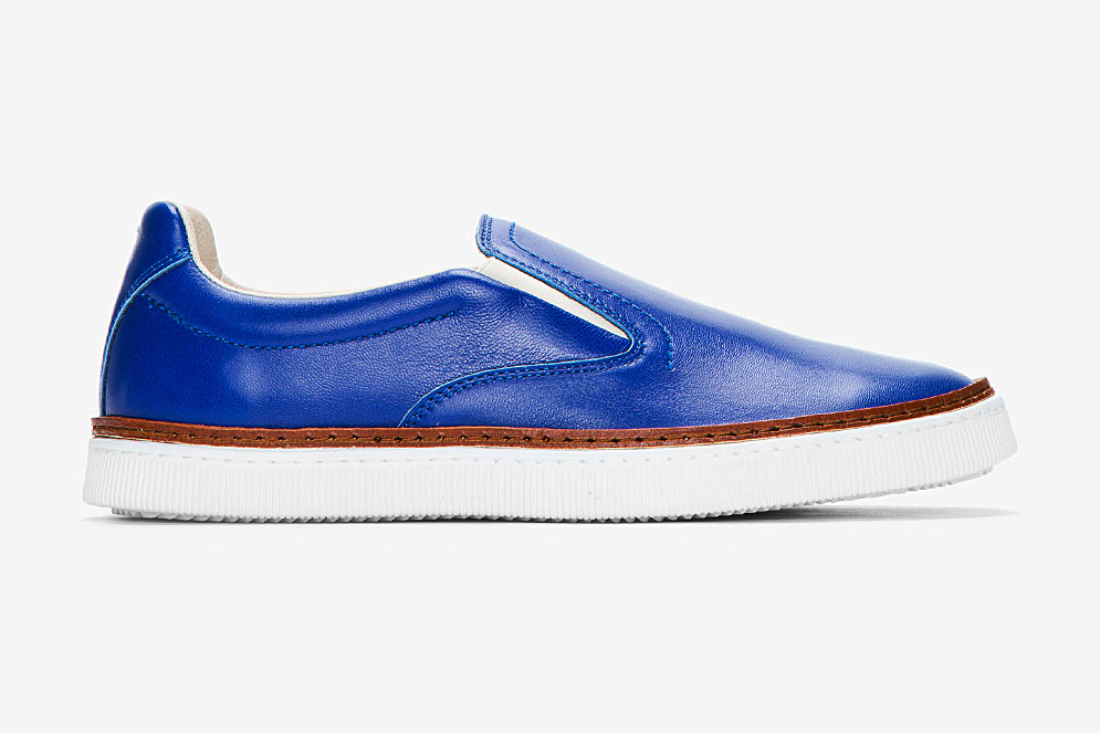 maison martin margiela royal blue buffed leather slip on