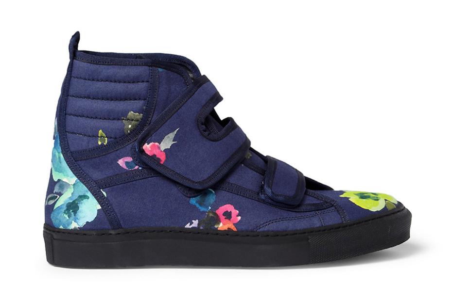 raf simons flower print high top sneakers