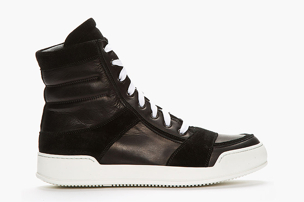 Balmain Black Leather & Suede High-Top Sneakers