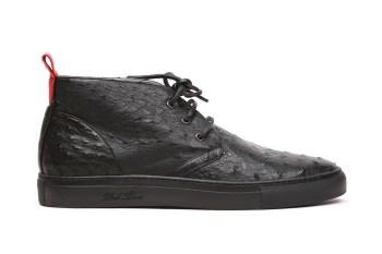 Del Toro Black Ostrich Alto Chukka Sneaker