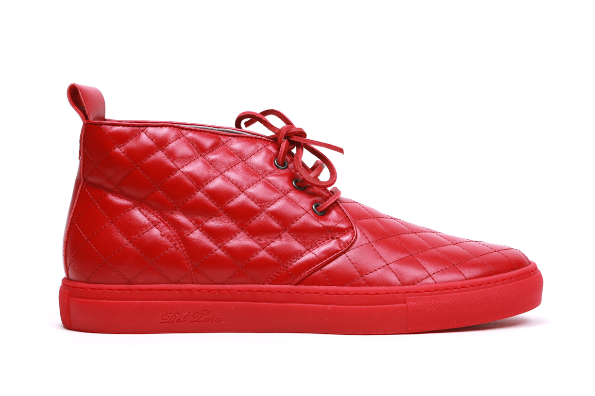 Del Toro Red Quilted Nappa Leather Alto Chukka Sneaker