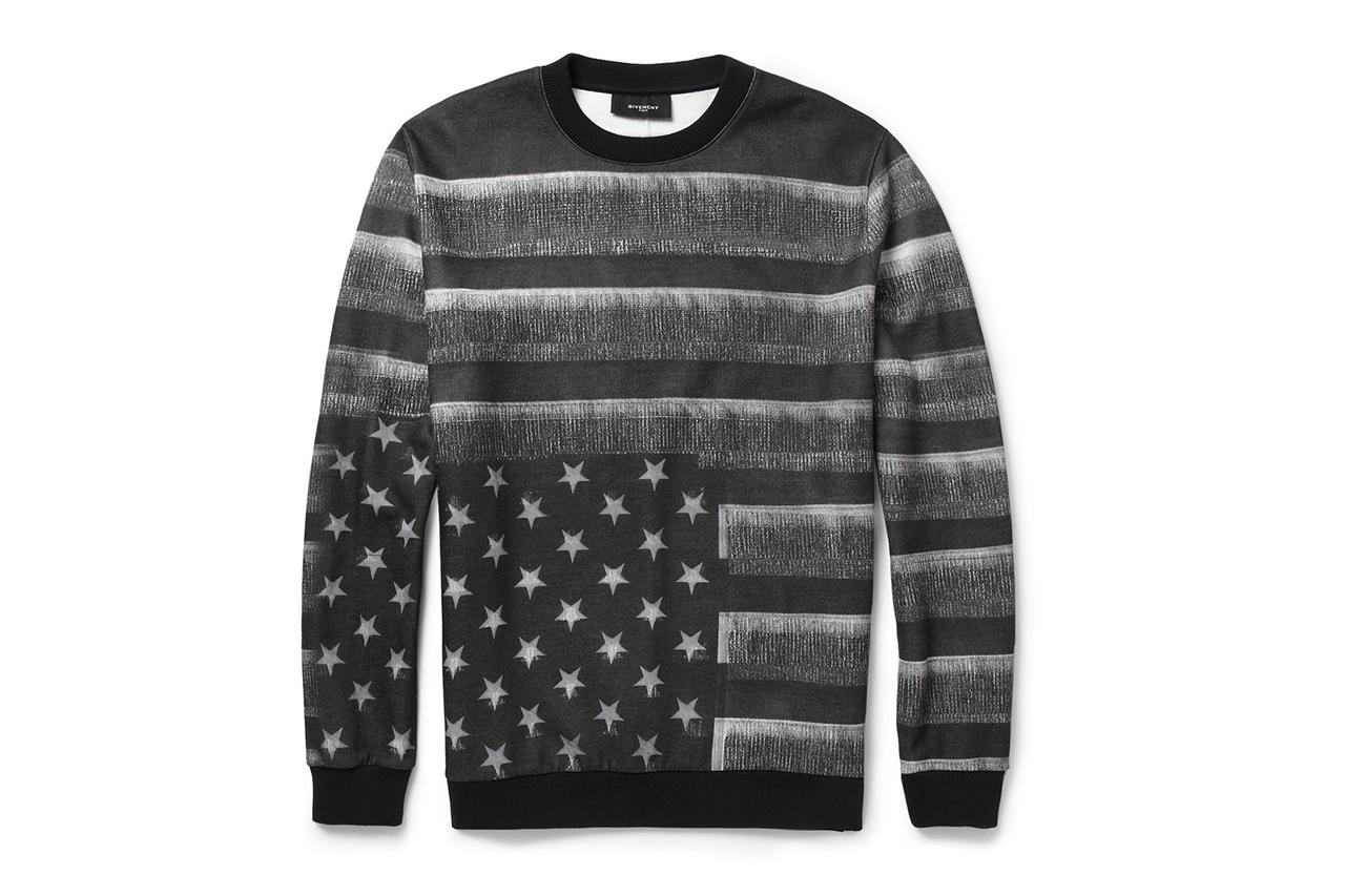 givenchy flag print fleece back jersey sweatshirt