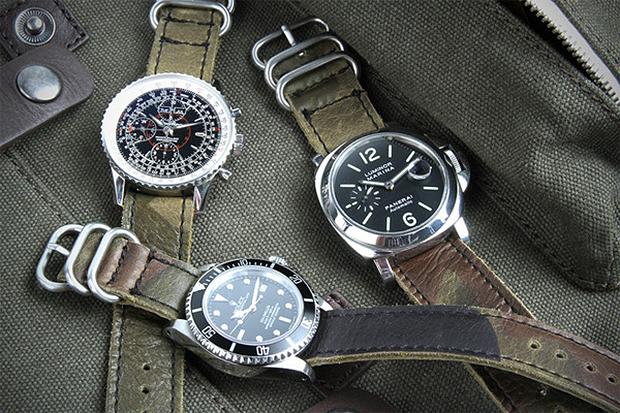 Logan Zane x Crown & Buckle Green Camouflage Leather Nato Straps
