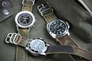 Logan Zane x Crown & Buckle Green Camouflage Leather Nato Straps