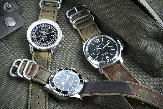 logan zane x crown buckle green camouflage leather nato straps