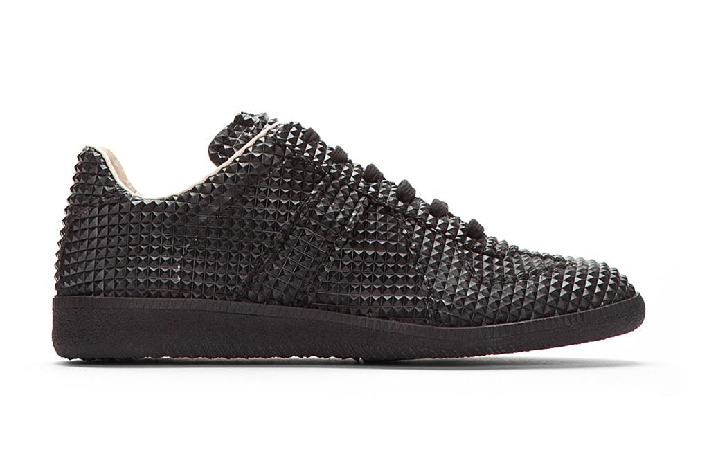 maison martin margiela black studded low top replica sneakers