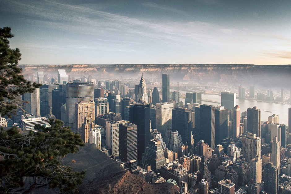 what manhattan looks like in the grand canyon by gus petro