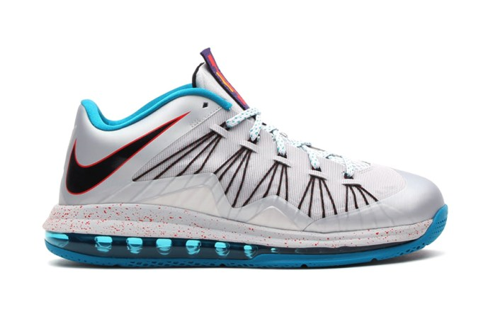 Nike Air Max LeBron X Low Metallic Platinum/Black-Tropical Teal