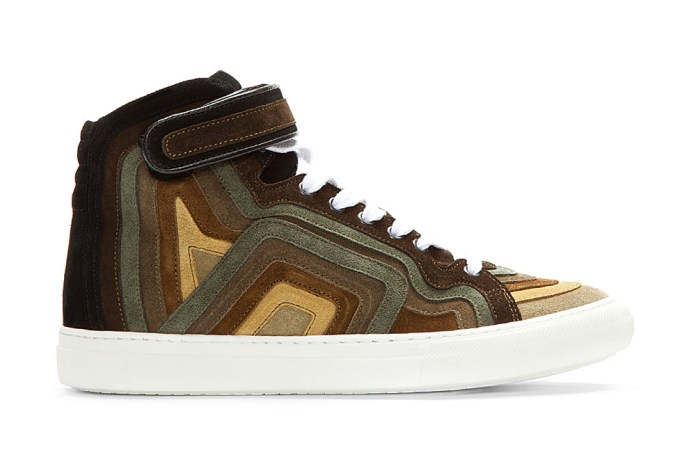 Pierre Hardy 2013 Spring/Summer Khaki Rainbow Banded Suede High-Top