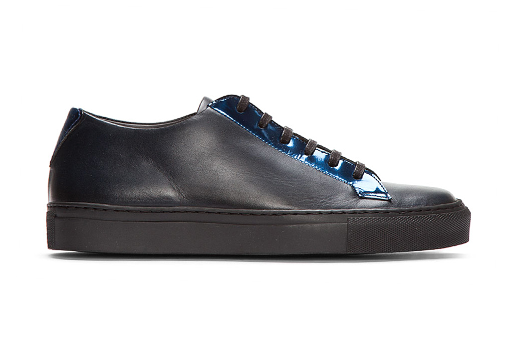 raf simons black leather reflective silver low tops