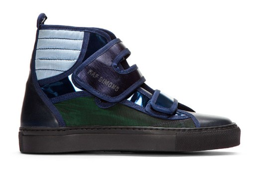 Raf Simons Blue and Green Metallic Velcro High-Tops