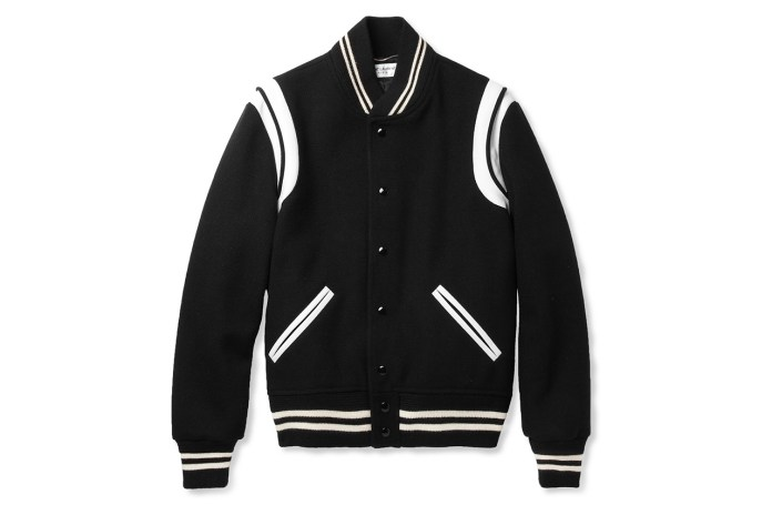 Saint Laurent Leather-Trimmed Wool Blend Varsity Jacket