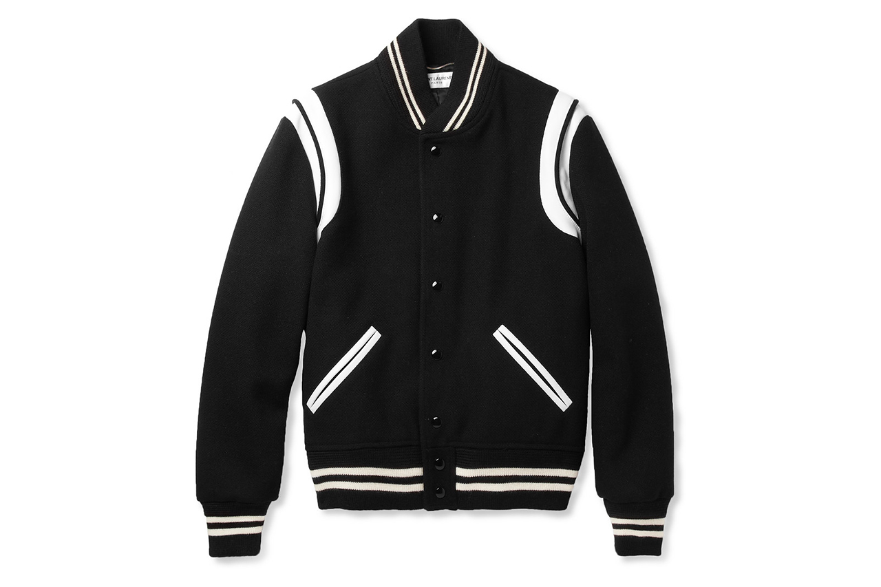 Saint Laurent Leather-Trimmed Wool Blend Varsity Jacket