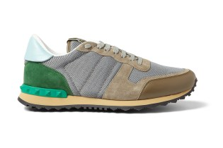 Valentino Leather-Trimmed Suede Sneakers