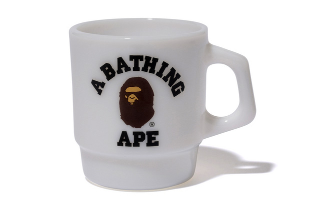 a bathing ape x fire king college mug