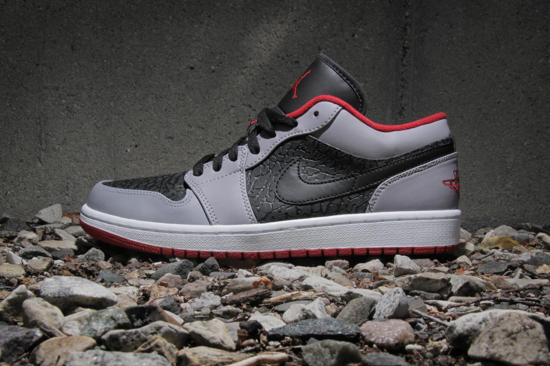 Air Jordan 1 Low Black/Gym Red-Cement Grey