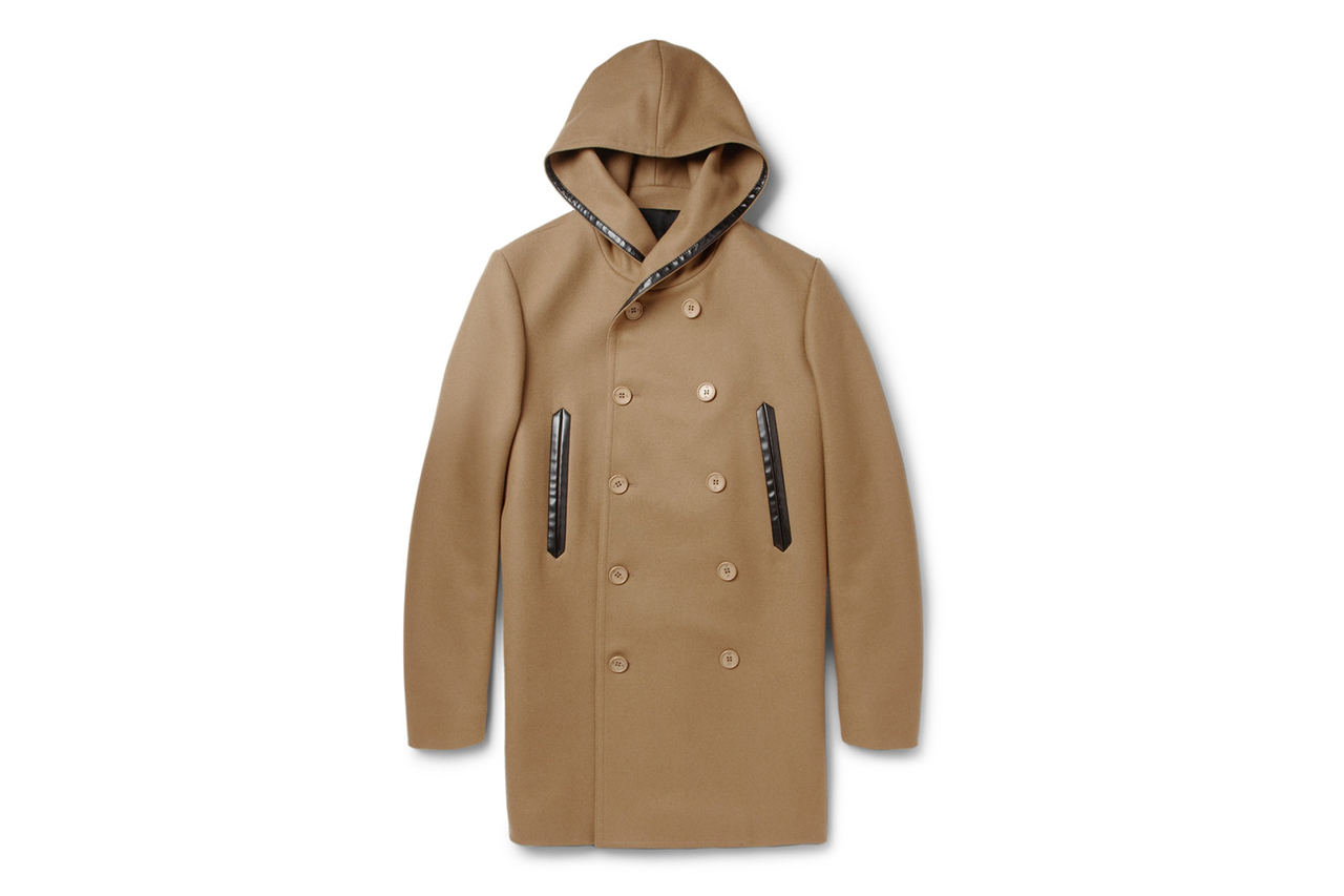 balenciaga wool blended hooded coat