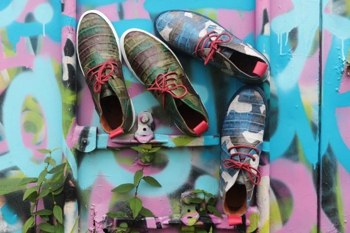 Del Toro Military Camo Genuine Crocodile Alto Chukka Sneaker