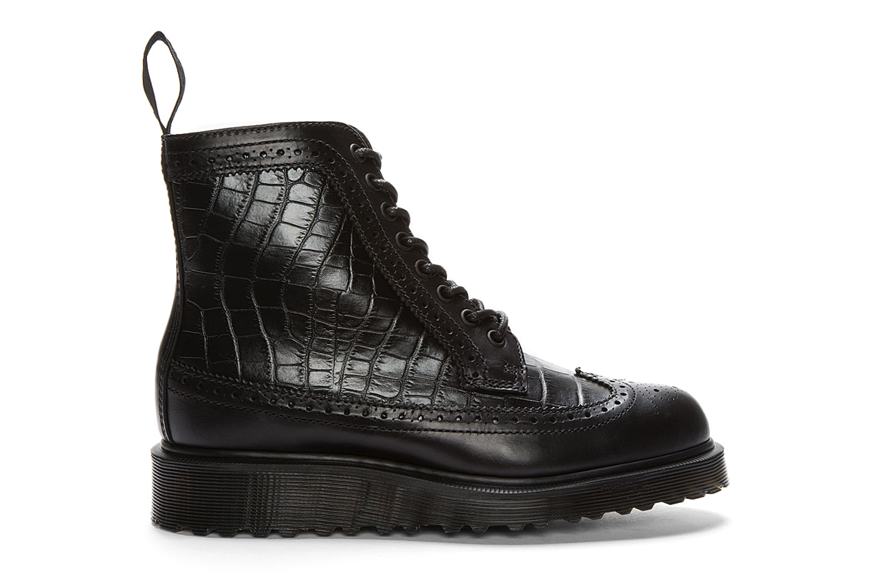 Dr. Martens Black Croc-Embossed Leather Marcus Brogue Boots