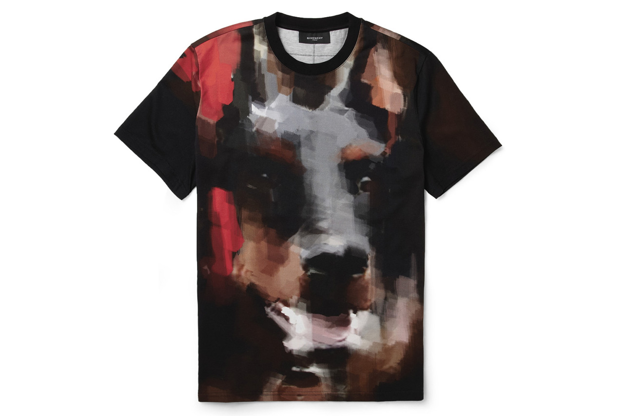 givenchy doberman print cotton jersey t shirt
