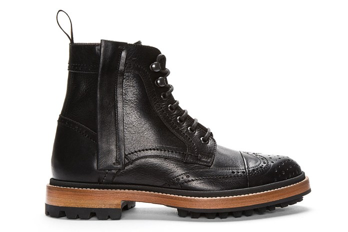 Lanvin Black Leather Brogue Boots