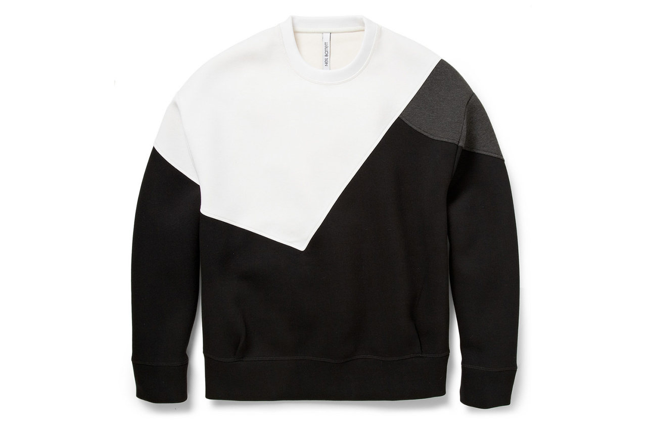 neil barrett color block bonded jersey sweatshirt