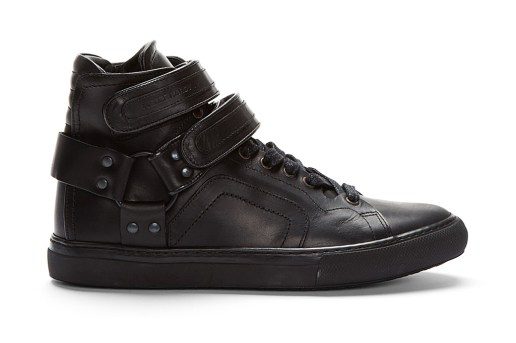 Pierre Hardy Black Leather Multi Strap High-Top Sneakers