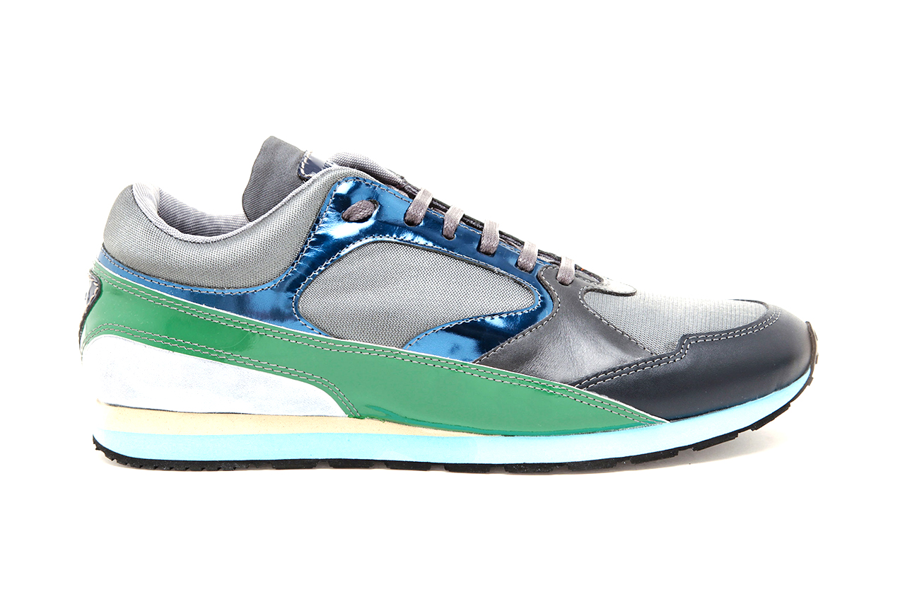 raf simons contrasting leather suede and mesh sneakers