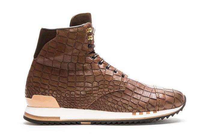 Alexander McQueen Croc-Embossed Leather High-Top Sneakers
