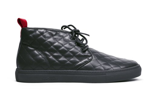 Del Toro Black Quilted Nappa Leather Alto Chukka Sneaker