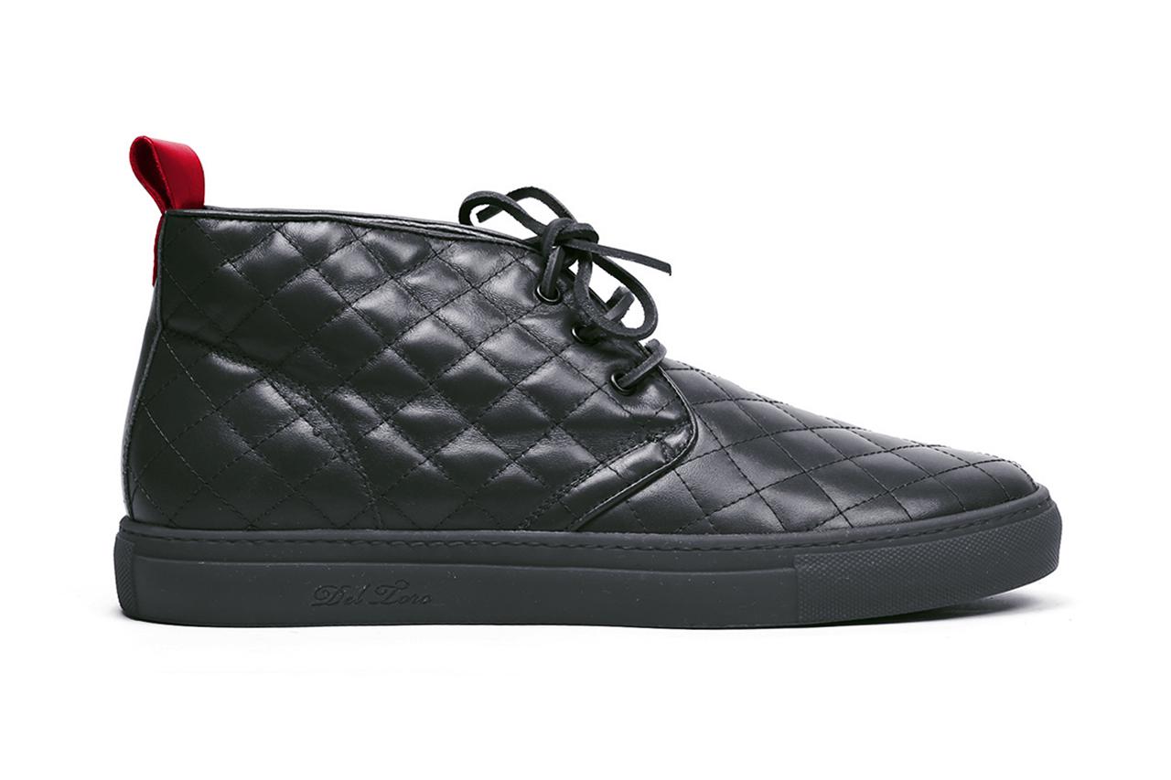 Del Toro Black Quilted Nappa Leather Alto Chukka Sneaker