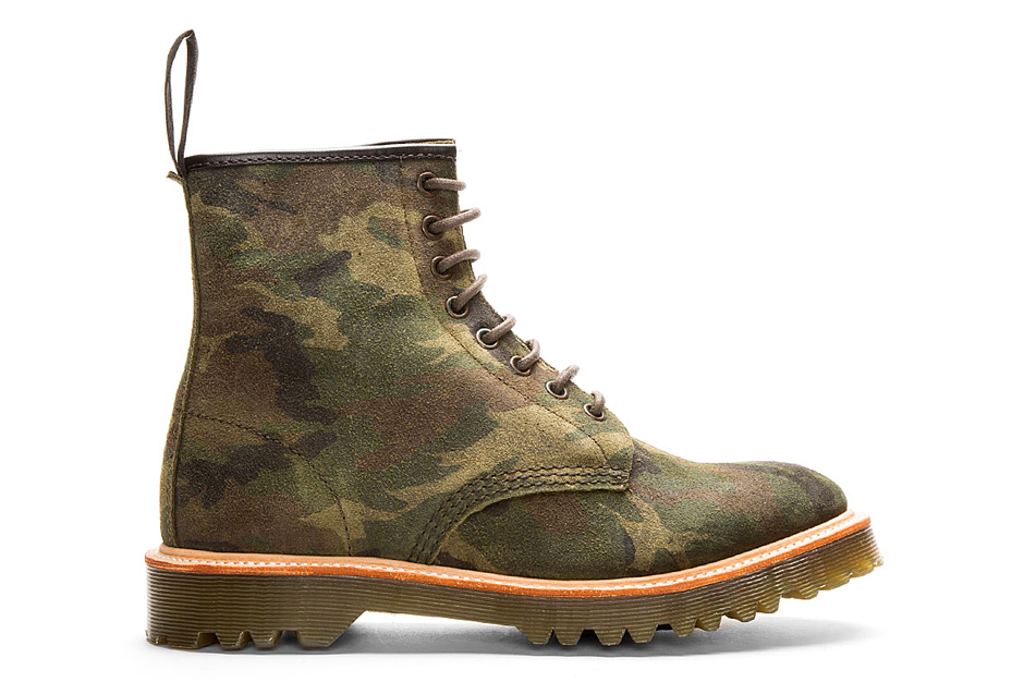 Dr. Martens Green Suede Camo Print Premium 1460 8-Eye Boots