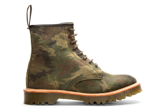 Dr. Martens Green Suede Camo Print Premium 1460 8-Eye Boots