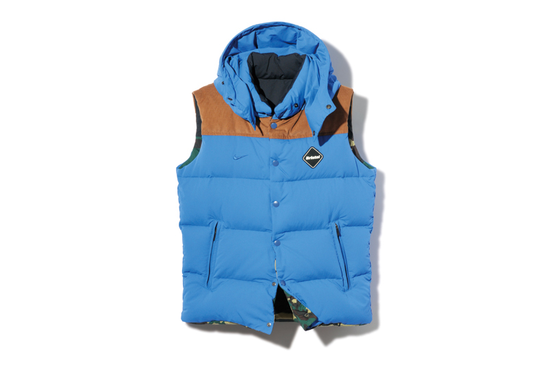 f c r b 2013 fall winter fabric mix reversible down vest