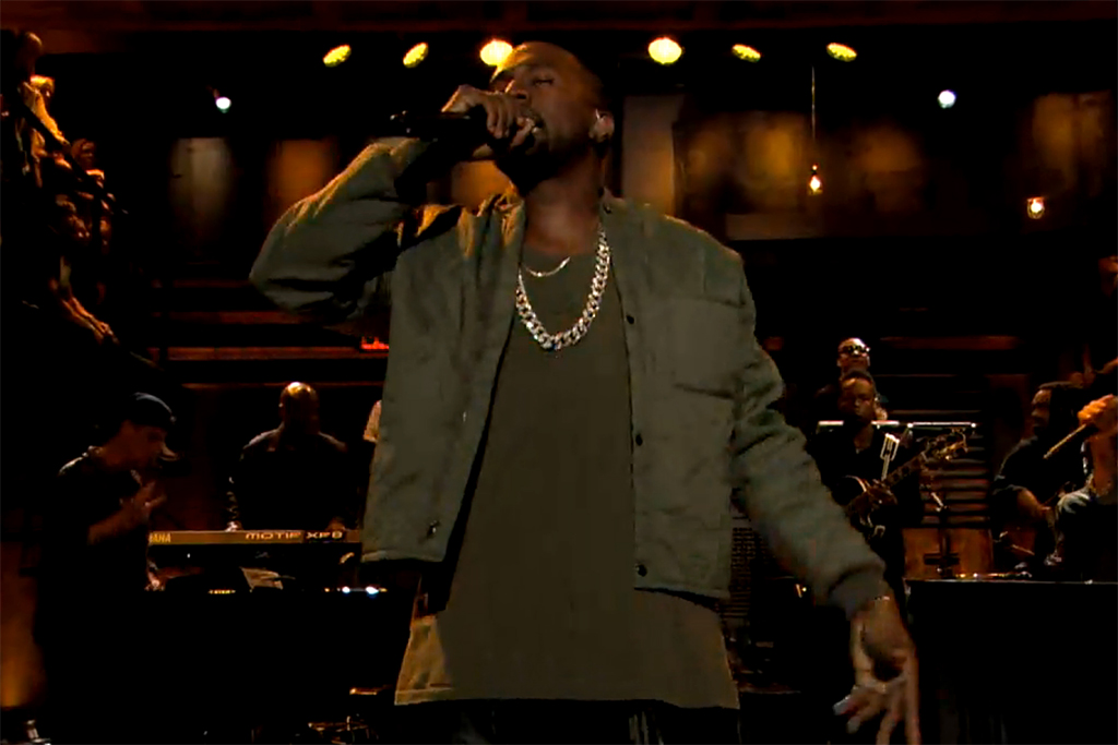 """Kanye West Performs """"Bound 2″ with The Roots & Charlie Wilson on Fallon"""