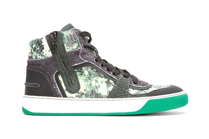 Lanvin Green Snakeskin Multi-Texture High-Tops
