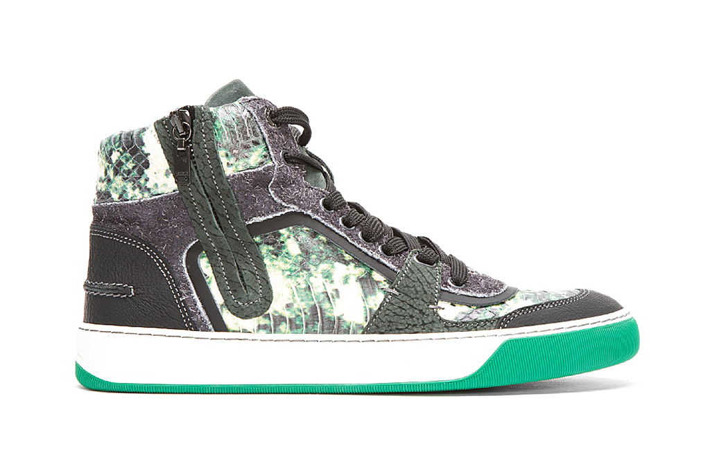 lanvin green snakeskin multi texture high tops