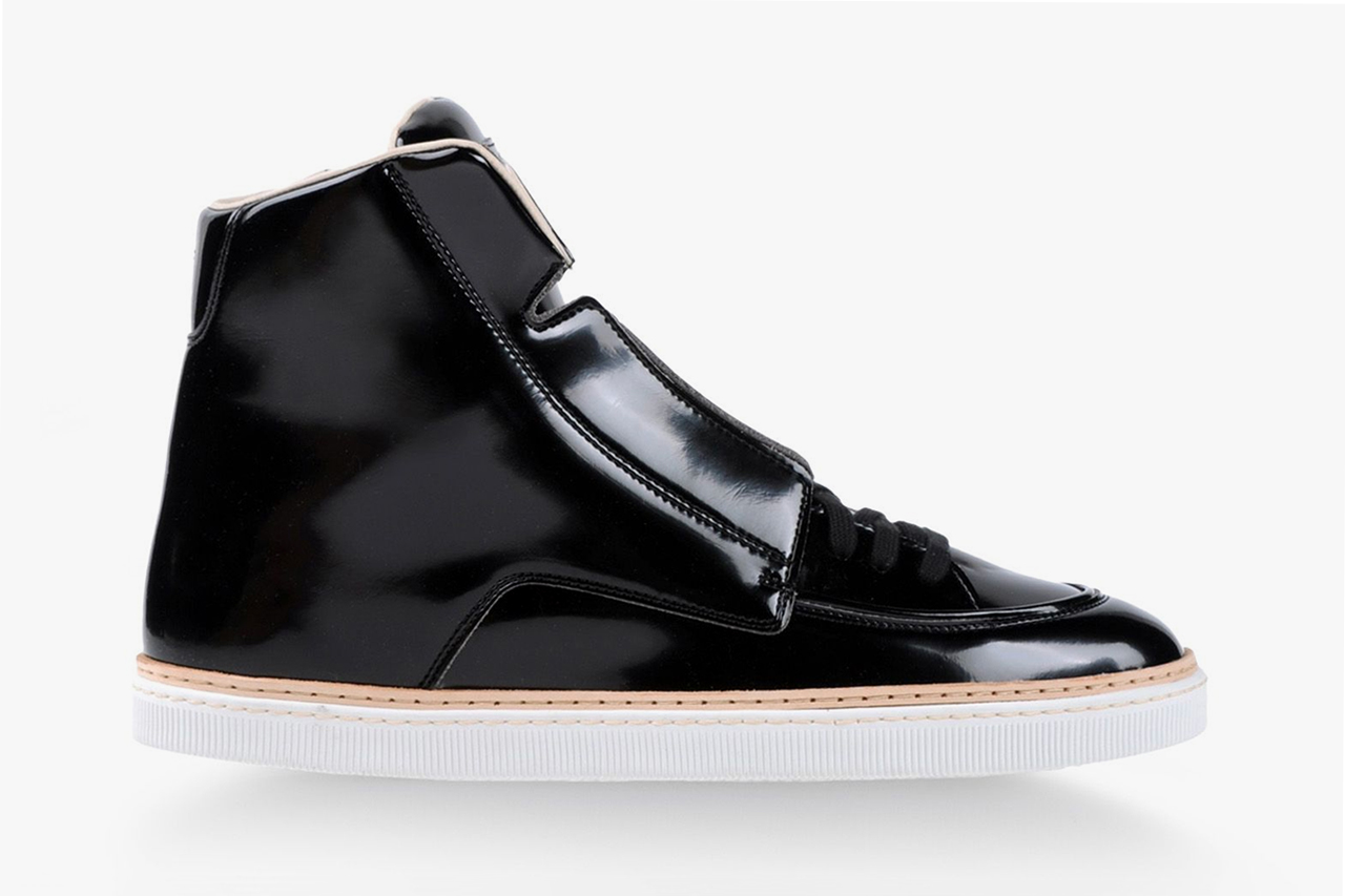 maison martin margiela 2013 fall winter high top black patent leather sneaker