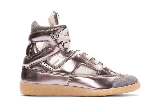 Maison Martin Margiela Leather Replica High-Top Metallic Pewter SSENSE Exclusive