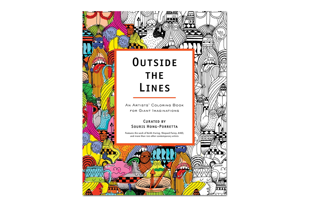 outside the lines an artists coloring book for giant imaginations launch moca