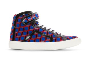 Pierre Hardy Blue Velvet Cube High-Top Sneakers