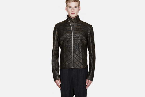 Rick Owens Olive Wild Alligator Leather Hun Jacket
