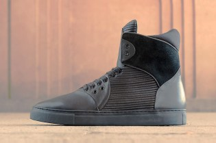 Stevin Gold Geo Trainer Luxury Hi-Top Carbon
