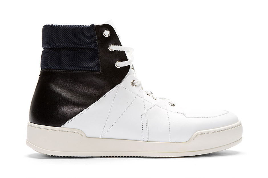 umit benan white tricolor leather high top sneakers
