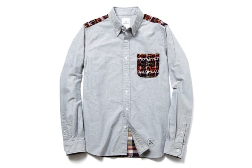 uniform experiment LEOPARD FLANNEL CHECK BACK PANEL OXFORD B.D SHIRT