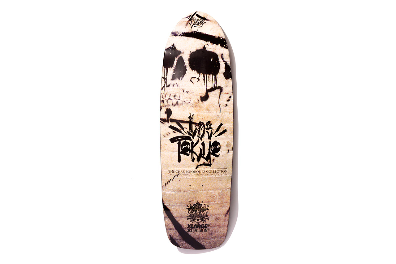 xlarge x chaz bojorquez x division creative foundry 2013 fall los tokyo skate deck