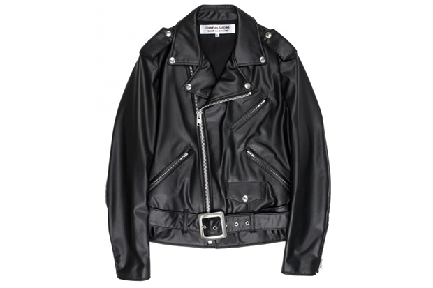 comme des garcons biker synthetic leather jacket